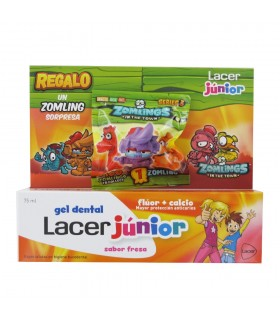LACER JUNIOR GEL DENTAL SABOR FRESA 75 ML + ZOMLING DE REGALO