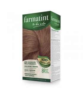 FARMATINT GEL COLORACION PERMANENTE RUBIO CLARO COBRIZO 8R 130 ML.