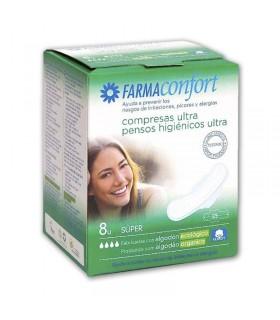 FARMACONFORT COMPRESAS ULTRAFINAS 100% ALGODON  SUPER 8 UDS